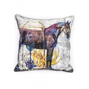 Декоративна възглавничка с колаж на кон