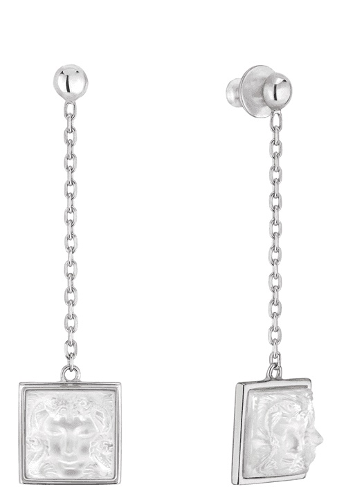 Дълги Сребърни Обеци Лалик Аретуза с матиран кристал