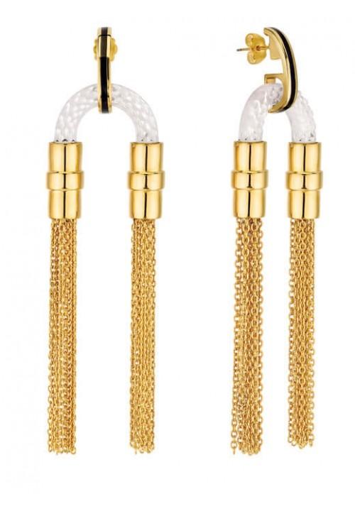 Луксозни висящи обеци Lalique 1927 със златни синджирчета