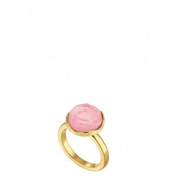 Луксозен розов пръстен с позлата Лалик