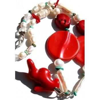 Kолие перли и тюркоази Дизайнерска ръчна изработка Modabox