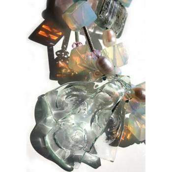 Масивно колие с опализирано стъкло и перли Modabox