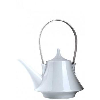 Чайник порцелан с неподвижна метална дръжка