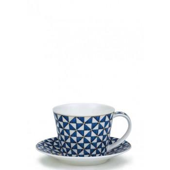 Чаша за чай от порцелан в синьо Самарканд