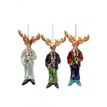 Елените на Дядо Коледа стъклени коледни играчки Dandy Deer