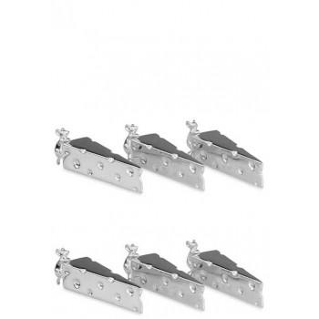 Елегантен комплект 6 посребрени поставки за ножове мишле и сиренце