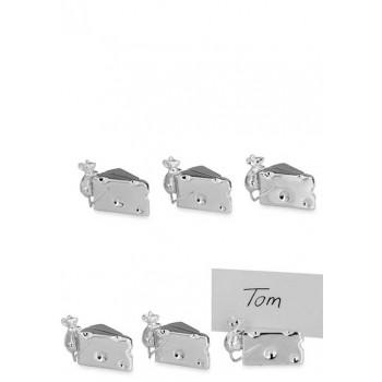 Сребърни поставки за име с малки мишчици сет от 6
