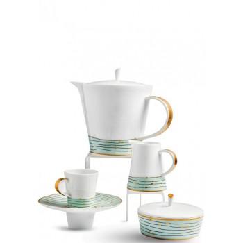 Порцеланов сервиз за кафе Raynaud Pluies Vert за 6 души